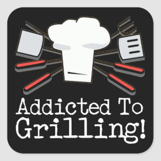 Addicted to Grilling Square Sticker