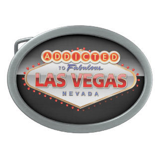 Addicted to Las Vegas, Nevada Funny Sign Oval Belt Buckle