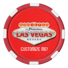 Addicted to Las Vegas, Nevada Funny Sign Poker Chips Set