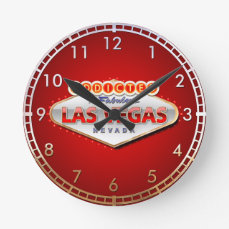 Addicted to Las Vegas, Nevada Funny Sign Round Clock