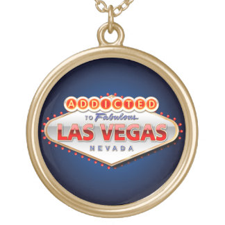 Addicted to Las Vegas, Nevada Funny Sign Round Pendant Necklace