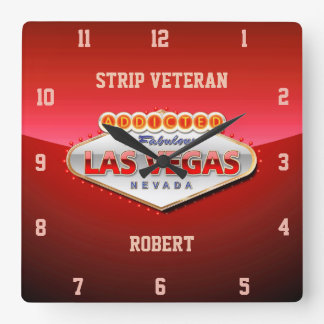 Addicted to Las Vegas, Nevada Funny Sign Square Wall Clock
