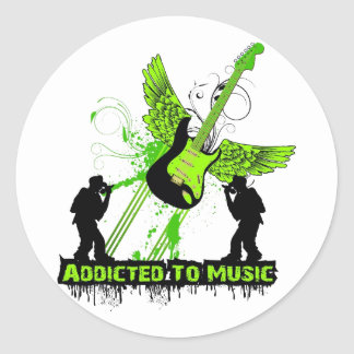 Addicted To Music Round Stickers