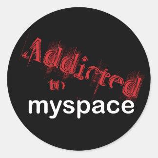 Addicted to myspace classic round sticker