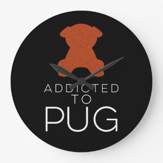 Addicted To Pug Orange Glitter Wall Clock
