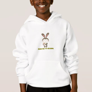 Addicted to Reading Book Bunny Hoodie Sweatshirt