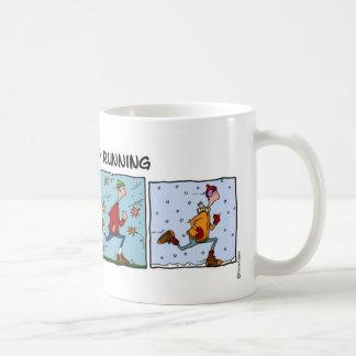 addicted to running (guy) classic white coffee mug