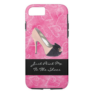 Addicted To Shoes Love Hearts Black Pink High-heel iPhone 8/7 Case