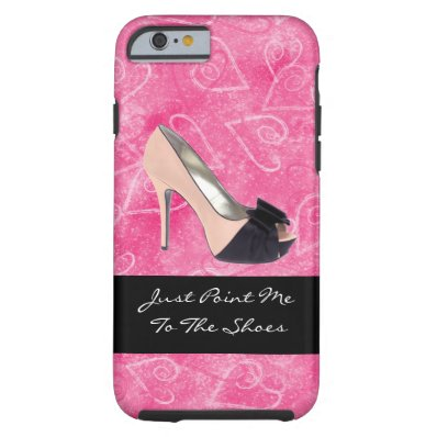 Addicted To Shoes Love Hearts Black Pink High-heel Tough iPhone 6 Case