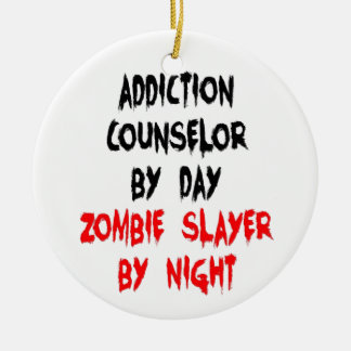 Addiction Counselor Zombie Slayer Double-Sided Ceramic Round Christmas Ornament
