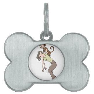 Addiction monkey on back pet ID tag