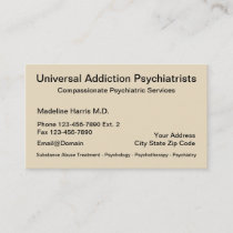 Addiction Psychiatrist Services Appointment Card
