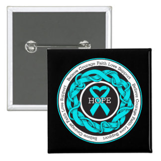 Addiction Recovery Hope Intertwined Ribbon 2 Inch Square Button