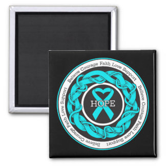 Addiction Recovery Hope Intertwined Ribbon 2 Inch Square Magnet