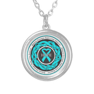 Addiction Recovery Hope Intertwined Ribbon Round Pendant Necklace