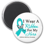Addiction Recovery I Wear a Ribbon For My Hero 2 Inch Round Magnet