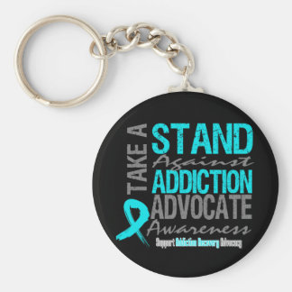 Addiction Recovery Take A Stand Against Addiction Basic Round Button Keychain