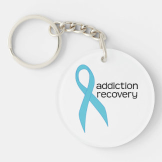 Addiction Recovery Turquoise blue Ribbon Keychain