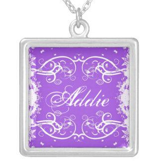 """""""Addie"""" on purple flourish swirls necklace"""