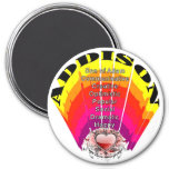 ADDISON Girl Name on Round Magnet