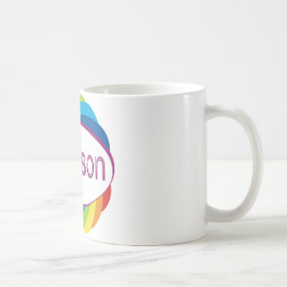 Addison in rainbow coffee mug