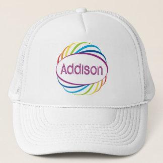 Addison  in rainbow happy frame trucker hat