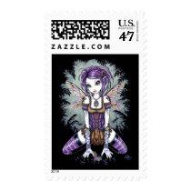 dragonfly, monarch, myka, jelina, fairy, fae, faerie, faery, pixie, nature, water, rainbow, purple, emo, gothic, fantasy, art, acrylic, Stamp with custom graphic design