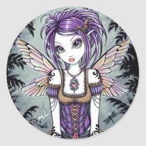 dragonfly, monarch, myka, jelina, fairy, fae, faerie, faery, pixie, nature, water, rainbow, purple, emo, gothic, fantasy, art, acrylic, Sticker with custom graphic design