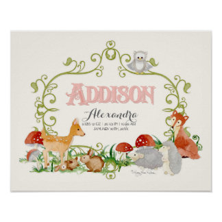 Addison Top 100 Baby Names Girls Newborn Nursery Poster