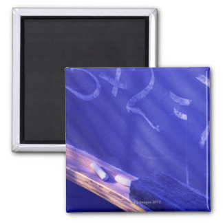 Addition on elementary school chalkboard 2 inch square magnet
