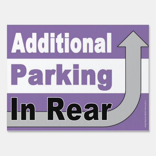 Additional Parking In Rear Traffic Sign Zazzle