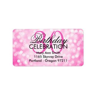 Address 30th Birthday Party Pink Glitter Lights Label