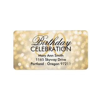 Address 50th Birthday Party Gold Glitter Lights Label