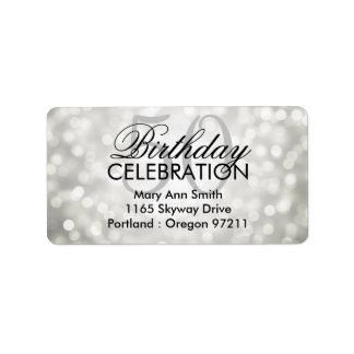 Address 50th Birthday Party Silver Glitter Lights Label