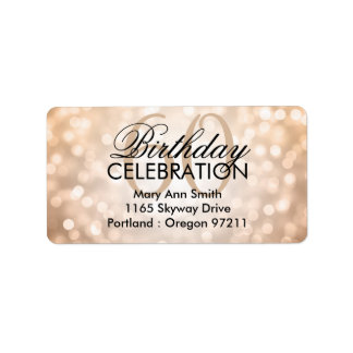 Address 60th Birthday Party Copper Glitter Lights Label