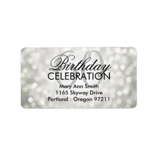 Address 60th Birthday Party Silver Glitter Lights Label