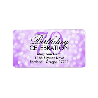 Address 70th Birthday Party Purple Glitter Lights Label
