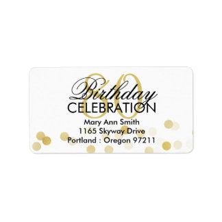 Address 80th Birthday Gold Foil Glitter Lights Label