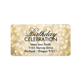 Address 80th Birthday Party Gold Glitter Lights Label