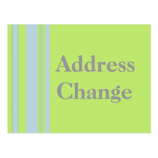 Address Change yellow grey blue stripes Postcard