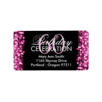 Address Elegant 60th Birthday Party Sparkles Pink Label