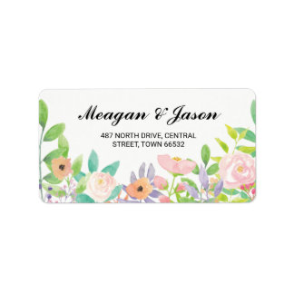Address Floral Labels Watercolour Stickers Wedding
