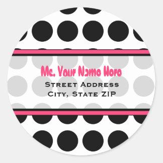Address Label - Black Polka Dot Classic Round Sticker