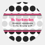 Address Label - Black Polka Dot Round Sticker
