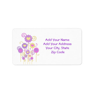 Address Label, Colorful digital flowers, hearts