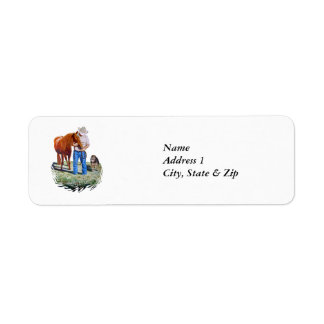 Address Label Friends Cowboy with Horse and Dog