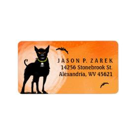 Address Label - Halloween Evil Dog Under the Moon