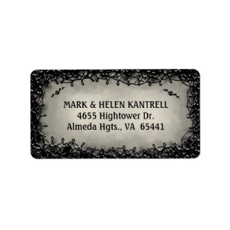 Address Label - Halloween Gray with Black Border
