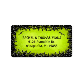 Address Label - Halloween Green with Black Border