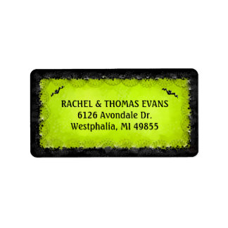 Address Label - Halloween Green with Black Border